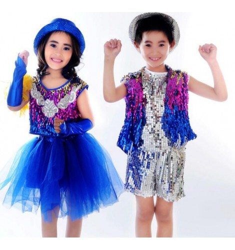 6078587e0a4b Royal blue rainbow colored sequined patchwork girls kids children ...