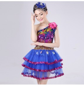 Royal blue rainbow colored sequins one shoulder modern dance women's stage performance cos play jazz singer dance costumes dresses outfits