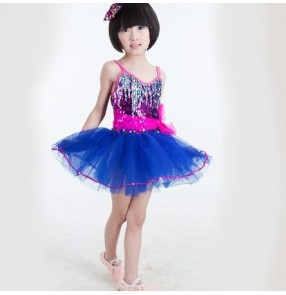 Royal blue rainbow sequins backless girls children performance strap modern dance jazz dance singer dance dresses outfits for kids