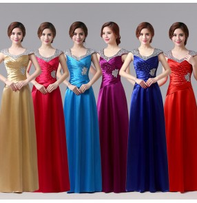 Royal blue red fuchsia hot pink gold turquoise purple violet double shoulder  beaded women's ladies female A line long length formal bride celebration special occasion satin wedding party evening dresses gown dresses vestidos