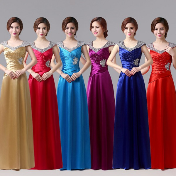 1caecb19fbeba ... beaded women's ladies female A line long length formal bride  celebration special occasion satin wedding party evening dresses gown  dresses vestidos