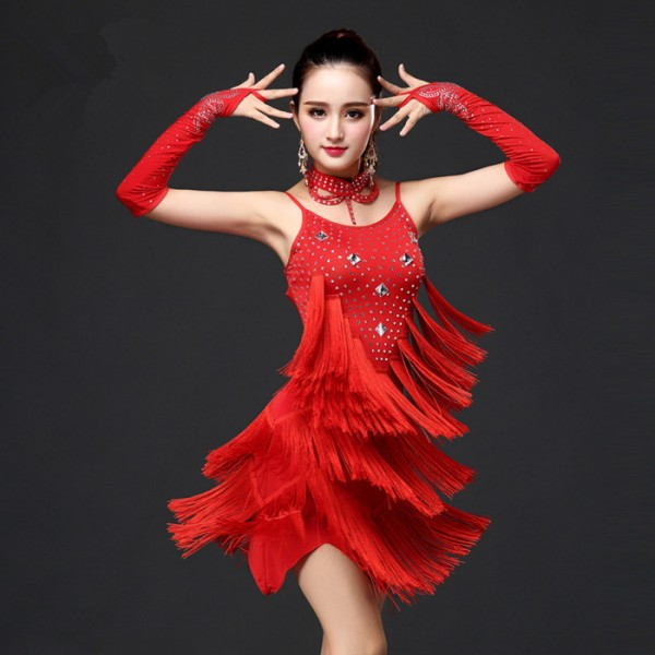 d35aa8553e51c Royal blue red fuchsia hot pink rhinestones backless fringes tassels competition  girls women's ladies female latin salsa samba cha cha dance dresses outfits