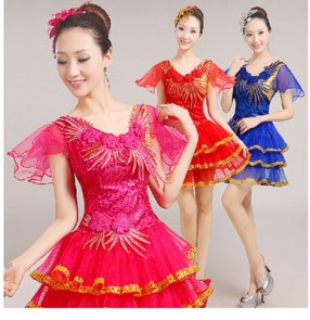 Royal blue red fuchsia hot pink sequined women's ladies female  modern dance jazz dance  stage performance dresses outfits