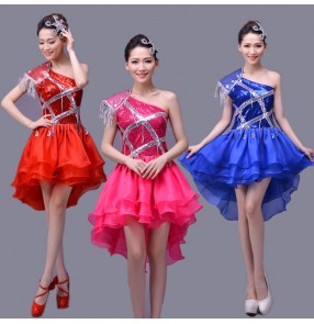 Royal blue red hot pink fuchsia sequined one shoulder girls women's modern dance stage performance jazz dance outfits costumes dresses