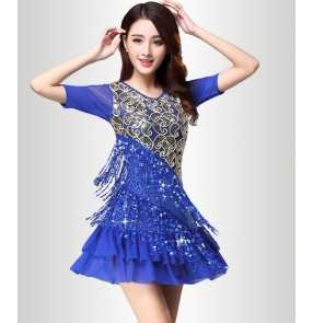 Royal blue red sequins embroidery pattern fringes short sleeves women's performance professional latin salsa cha cha rumba samba dance dresses outfits