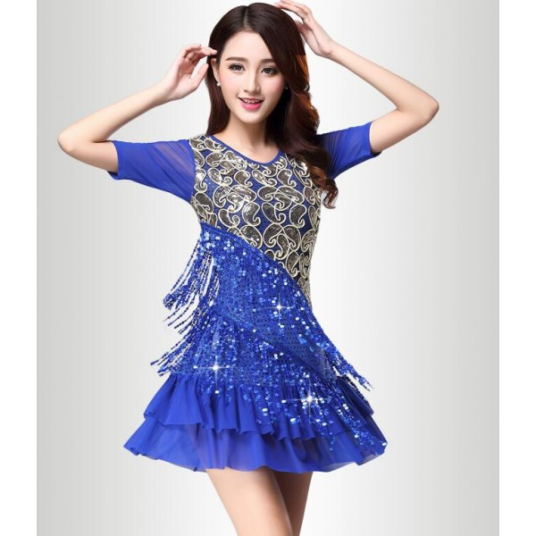 ec110936fd070 Royal blue red sequins embroidery pattern fringes short sleeves women's  performance professional latin salsa cha cha rumba samba dance dresses  outfits