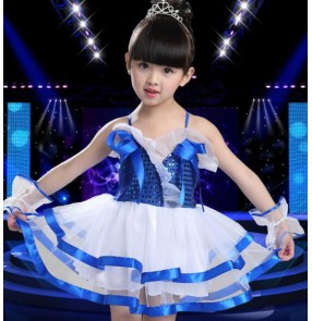 Royal blue red white sequined girls kids child modern dance t show school jazz dance stage performance princess party dance slip dresses outfits