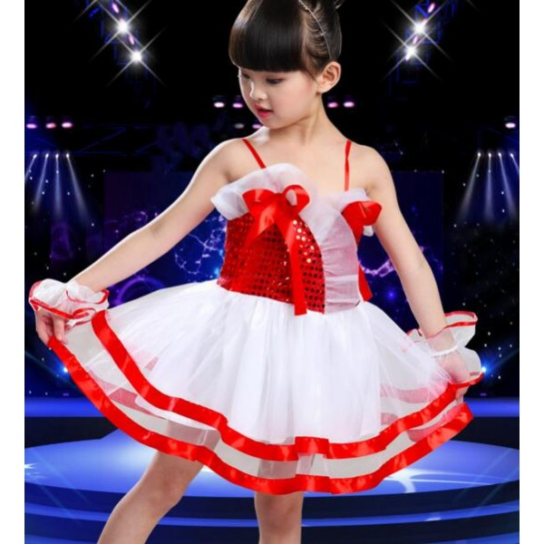 880768f213c9 Royal blue red white sequined girls kids child modern dance t show ...