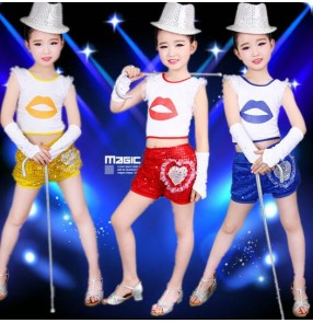 Royal blue red yellow gold sequined girls child children toddlers stage performance modern dance jazz dance t show school play dance costumes
