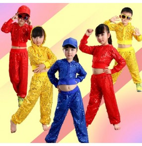 royal blue red yellow gold sequins long sleeves hoodies long pants boy kids children girls cos play modern dance school performance hip hop jazz dance outfits costumes