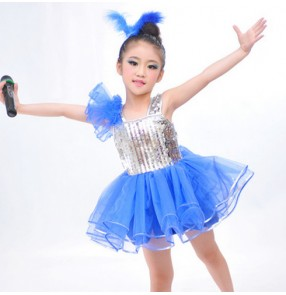 Royal blue silver sequined patchwork girls kids child children toddlers school play t show modern dance jazz dance costume  dresses