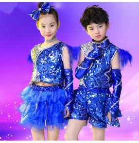 Royal blue silver sequined patchwork pu leather boys girls kids children modern dance jazz dance performance school play outfits costumes