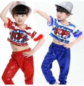 Royal blue silver white black yellow gold sequined boys girls kids child children modern dance jazz dance hip hop dance t show school play costumes clothes