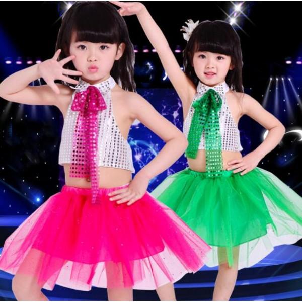 f609cf04e7a7 Sequined fuchsia hot pink green girls kids child toddlers children ...