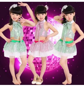 Sequined green fuchsia girls kids child kids children jazz dance modern dance stage performance school play dance outfits costumes