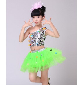 Sequined silver turquoise red fuchsia pink hot pink yellow white neon green girls kids child children modern dance jazz stage performance costume outfits dresses