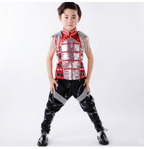 Sequins fringes leather boys kids children fashion stage performance jazz hip hop school play dancing costumes outfits