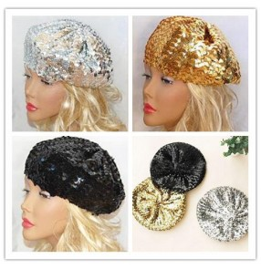 Sequins glitter gold silver black hot pink violet turquoise royal blue women's fashion dancing bar jazz singer performance hip hop cos play dancing hat berets caps beanies