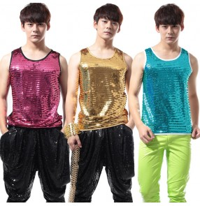 Sequins gold pink blue men's male man performance bar punk rock hip hop jazz dance singer competition tops tank vest costumes oufiits