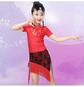 Short sleeves top lace fringes side split skirts girls kids children school play gymnastics split set latin ballroom salsa samba rumba dance  dresses outfits costumes sets