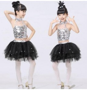 Silver black patchwork girls kids child children toddlers modern dance jazz dance t show school play dance outfits costumes