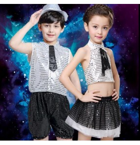 Silver black patchwork sequined girls boys child toddlers kindergarten modern dance stage performance t show play jazz dance costumes