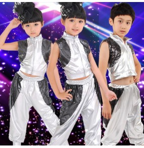 Silver black patchwork sleeveless  girls kids child children boys modern dance jazz dance school performance hip hop  dance outfits