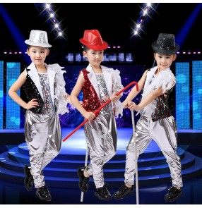 Silver black rainbow red sequins paillette boys kids baby children girls stage performance school play hip hop jazz ds drums players singer dance costumes outfits 3in1 sets