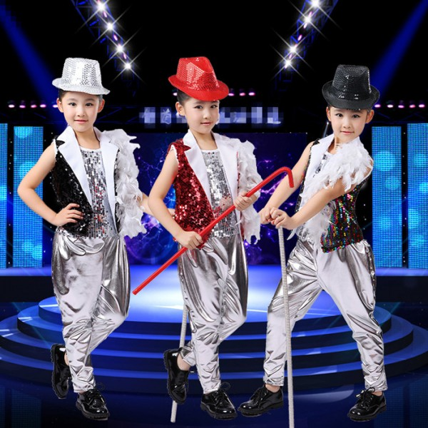 7e6938f3fa66 Silver black rainbow red sequins paillette boys kids baby children ...