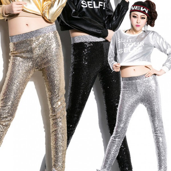 524e624678 Silver gold black sequins fabric long length girls women s ladies female  latin salsa jazz stage performance singer show play sexy fashion slim hip  hop pole ...