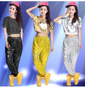 Silver gold black sequins fashion women's girls stage performance singer jazz dj ds hip hop dance costumes outfits