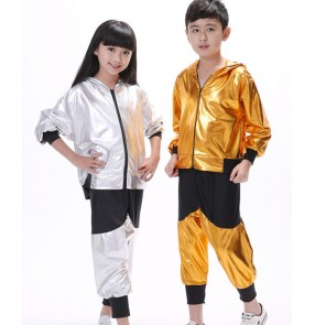 Silver gold glitter paillette leather boys kids girls long sleeves children party school play stage performance jazz ds hip hop dancing outfits costumes dancewear