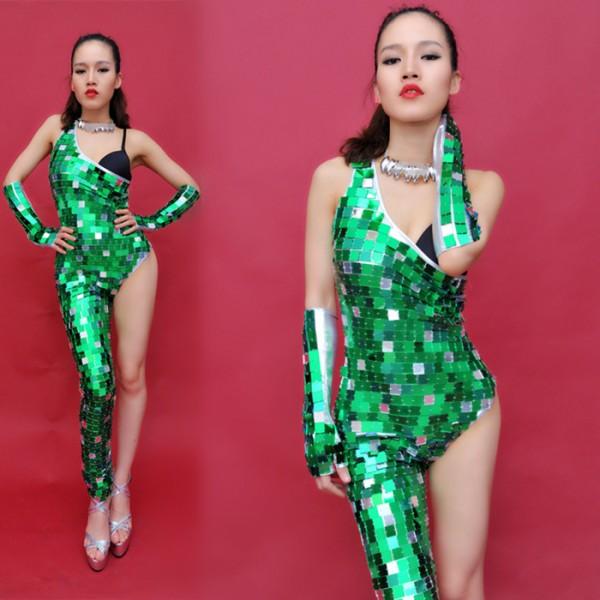 1826a805ba Silver gold green leather patchwork mirror sequins women s ladies female  dance wear one shoulder sexy fashion single leg performance jazz singer dj hip  hop ...