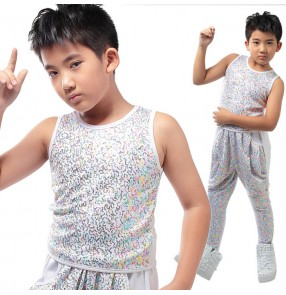 Silver gold multi colored sequins boys kids children stage performance sleeveless hip hop jazz dance tops vests outfits costumes( only vest)