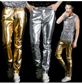 Silver gold pu leather motorcycle fashion slim long length adult youth men's adult jazz pole stage performance show play hip hop jive pole dancing  dance costumes pants trousers outfits