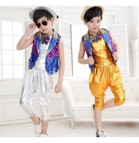 Silver gold rainbow vest colored Sequined boys child children jazz dance modern hip hop T show school play dance Stage performance costumes outfits
