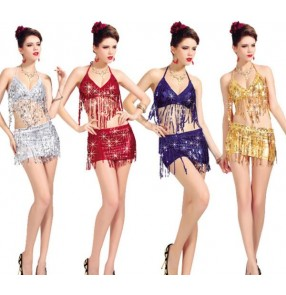 Silver gold red blue yellow sequined fringes women's modern dance stage performance jazz  singer ds dance costumes outfits