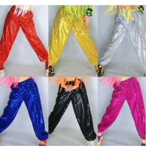 Silver gold red fuchsia hot pink black royal blue hot pink sequins paillette girls women's adult play modern dance club jazz dance hip hop dance performance pants outfits