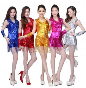 Silver gold red royal blue fuchsia hot pink sequins glitter fringes leather fashion jazz singer dj ds performance dance  costumes outfits