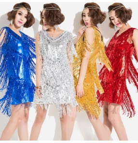 Silver gold red royal blue sequins glittler fringes v neck sleeveless fashion women's girls jazz singer hip hop performance ds dj latin dance costumes outfits