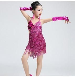 Silver gold royal blue hot pink fuchsia sequins paillette fringes tassels girls kids children stage performance professional latin salsa cha cha dance dresses outfits skirts