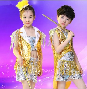 Silver gold sequined feather boys girs kids children modern stage performance jazz dance hip hop dance outfits costumes