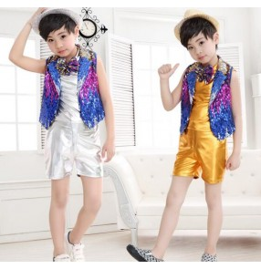 Silver gold sequined vest pu leather fashion boys kids child children toddlers jazz dance modern dance costumes outfits