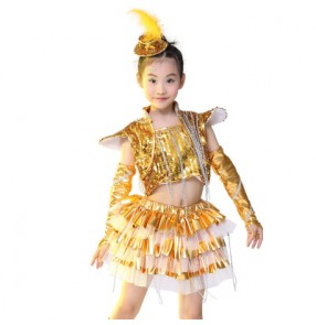 Silver gold yellow green royal blue Girls kids child children  sequined modern dance show school play performance jazz dance costumes outfits