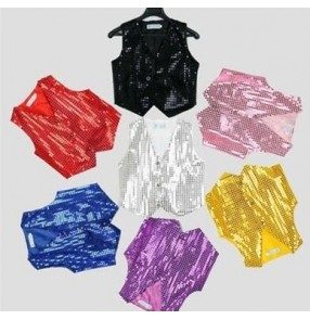 Silver gold yellow purple violet red royal blue red black boys kids children toddlers t show school play  modern jazz dance costumes vest outfits