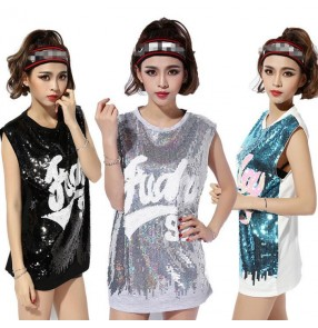 Silver gray blue black sequins women's ladies fashion sports performance jazz hip hop dancing tops t shirts