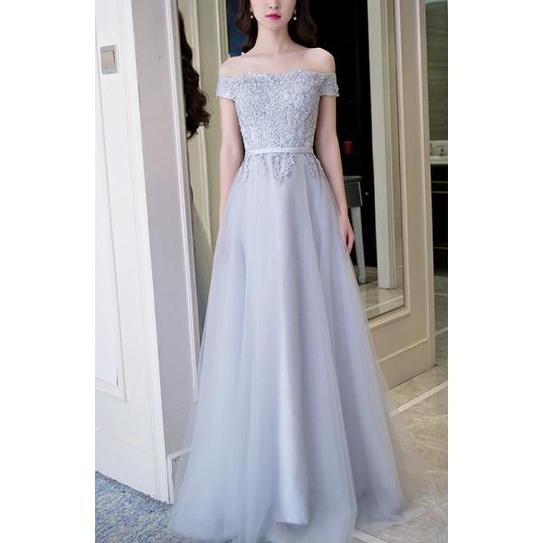 Silver gray lace appliques dew shoulder short sleeves A line ...