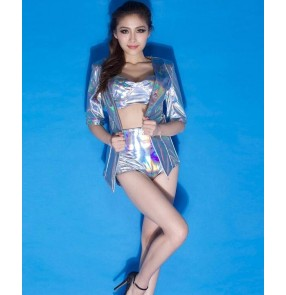 Silver pu leather fashion laser sequins women's performance modern dance jazz dance ds dj hip hop punk rock  bar singer dancing costumes outfits blazer with shorts set