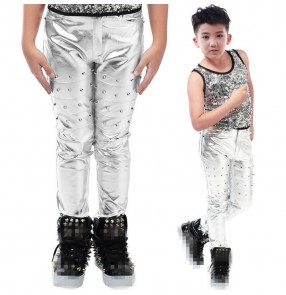 Silver pu leather motorcycle style fashion boys kids children baby rivet long length straight stage performance school play hip hop jazz singer dance costumes outfits pants trousers( only pants)