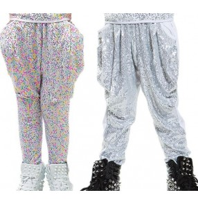 Silver rainbow colored sequins loose harem boys kids children school play  stage performance loose long baggy hip hop jazz dj singer dance pants trousers